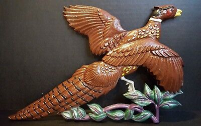 Vintage Cast Metal Flying Pheasant Wall Plaque