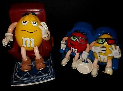 LOT OF (2) M & M'S  At The Movies Red & Yellow & LAZY BOY YELLOW Candy Dispenser