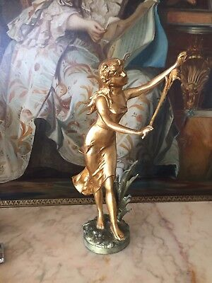 SPELTER GOLD GILDED STATUE OF THE LADY ,47 cm HEIGHT