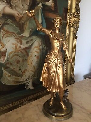 Spelter Gold Gilded Statue Lady With Bird , 53 Cm Height