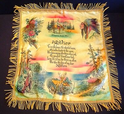 Vintage Souvenir Pillow Case Cover Chippewa Falls Wisconsin w/ Poem to Mother