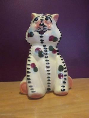 """California Pottery vintage stitched gingham raggedy CAT Kitten figurine  7"""""""
