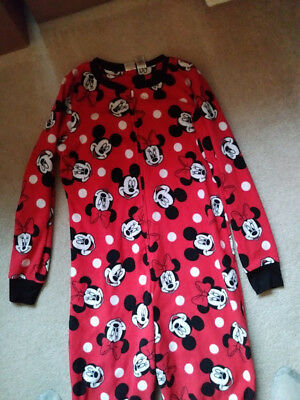 9b7f905418 WOMEN S DISNEY MINNIE Mouse Hooded One Piece Adult Fleece Pajamas ...