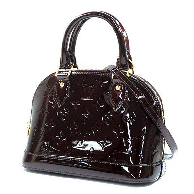 86c3e5798df6 A LOUIS VUITTON Alma BB 2Way shoulder bag handbag M91678 amaranth Vernis 20