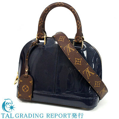 3a61d1b2229a A LOUIS VUITTON Alma BB 2Way shoulder bag handbag M54705 Marines Vernis mon