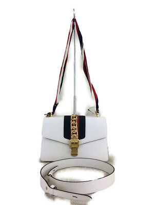 c96a3c75f0be GUCCI Sylvie 421882 5235040 shoulder bag leather WHT plain
