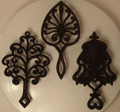 2 Vintage Antique Wilton, 1 Unbranded Cast Iron Kitchen Trivets Pot Pan Holder