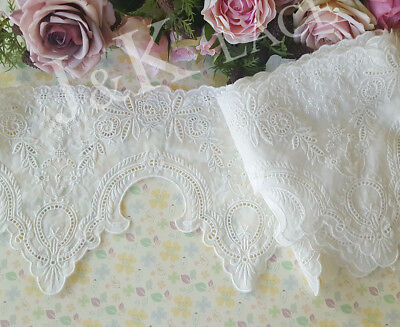 18 cm width Gorgeous Milky White Cotton Embroidery Lace Trim