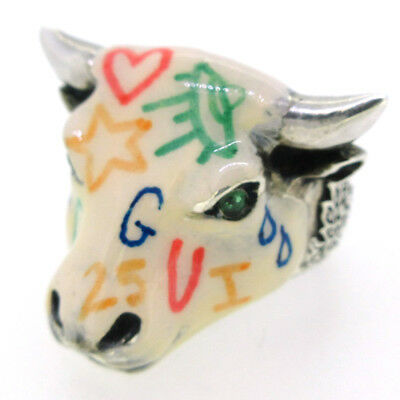 acddc2278 GUCCI | ANGER Forest enameled bull's head ring size # 16 f135 ...