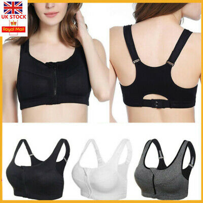 UK Women's Sports Front Zip Push Up High Impact Bras Yoga Gym Padded Corset