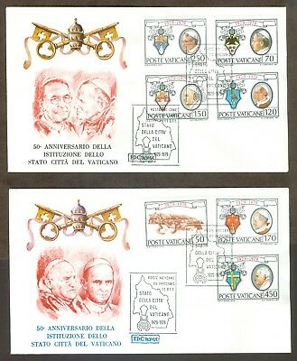 Vatican City Sc# 657-63: 50th Anniversary of the Lateran Pact on 2 FDC