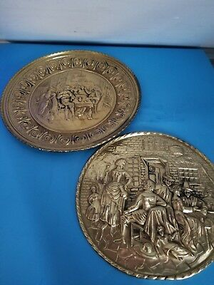 Vintage Peerage Brass Wall Plate Decor Made In England Two 10 12
