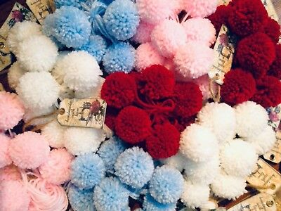 10 handmade wool pom poms. Made In England.