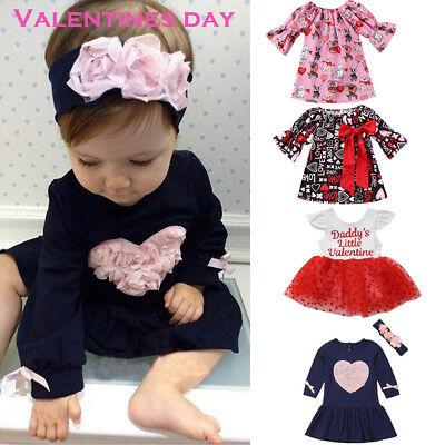 US Toddler Kid Baby Girls Valentines Day Love Printed Party Dress Clothes Outfit