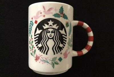 NEW Starbucks 2018 Christmas Holiday Mug Candy Cane Handle Ceramic 12 oz