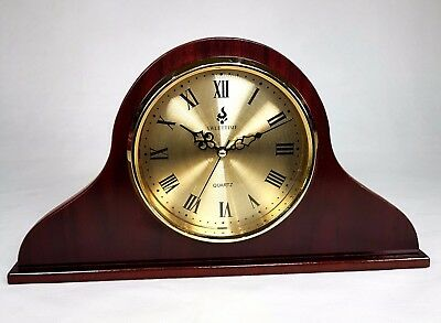 Napoleon Shaped Wooden Mantel Clock with Roman Numerals