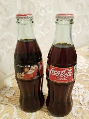Coca Cola Classic 1997 Christmas 8oz Bottles; Filled; Unopened; Great Condition