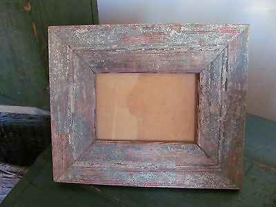 """Vintage Reclaimed Wood Picture Frame, Distressed Green White Paint, Fits 6"""" x 4"""""""