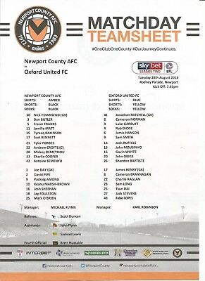 NEWPORT COUNTY v OXFORD UNITED  2018/19  CARABAO CUP  Team Sheet