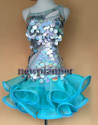 D104 Competition Rumba Salsa Latin Smooth Cha Samba Dance Dress Tailor Made