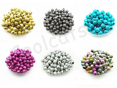 Metallic Glitter Acrylic Stardust Round Spacer Loose Beads 4mm 6mm 8mm 10mm