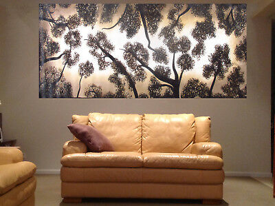 "63"" x39"" Tree forest art painting Australia Landscape woods abstract aboriginal"