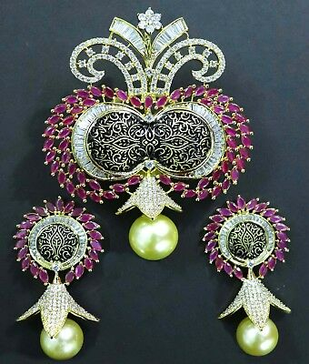 Indian Designer Red Pearls Pendant Earring Set Antique Work Gold Plated 311227