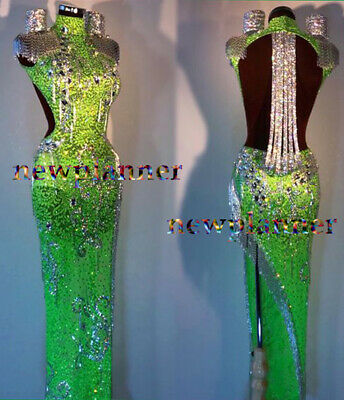 Women Ballroom Competition Rumba Salsa Latin Dance Dress US 10 UK 12 Green Black