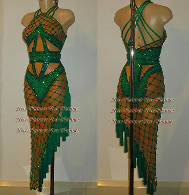 L3868 Ballroom Rhythm salsa Latin samba swing dance dress UK 12  green nets