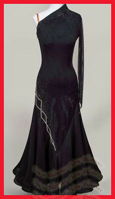B7707 women Ballroom smooth swing Waltz Tango Rhythm UK 12 Dance Dress Black