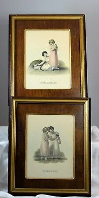 Pair Of Antique Victorian Era Wood Framed Prints Tenderness Patience