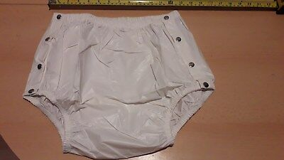 """Adult Baby Milky White Snap Plastic Pants In Pvc. Size M, 26""""-30"""" Waist"""