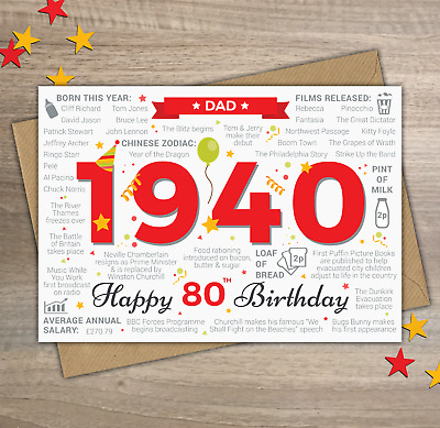 1940 DAD Happy 80th Birthday Greetings Card Memories / Year of Birth Facts Red