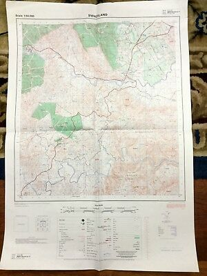 Vintage African  Map Swaziland Government South Africa Luyengo  Ntungulu Hills