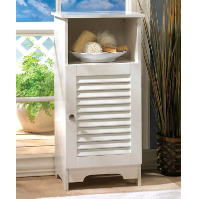 Accent Plus White Nantucket Bathroom Storage Cabinet And Shelf New