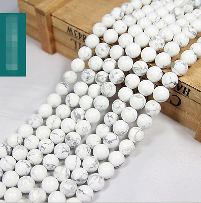 """15"""" 4mm 6mm 8mm 10mm 12mm Natural White Turquoise Gemstone Round Beads"""