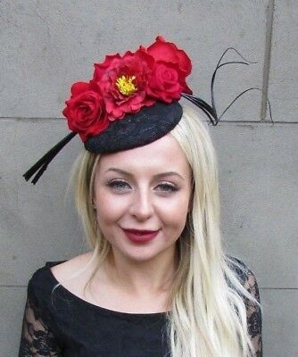Black Red Rose Feather Flower Fascinator Pillbox Button Hat Hair Clip Races 6679