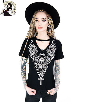 RESTYLE ANCIENT SCARAB gothic CHOKER alternative T-SHIRT tee BLACK TOP