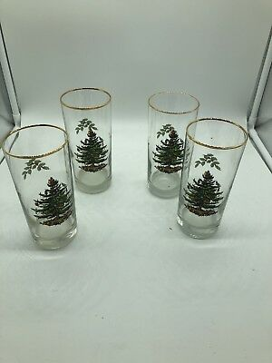 Spode Christmas Tree Set of Four (4) 12 Oz Highball Glasses w/ Gold Rim & Holly