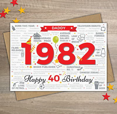 1980 DADDY Happy 40th Birthday Greetings Card Year of Birth Facts / Memories Red