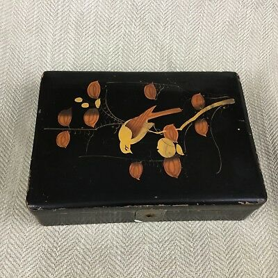 Vintage Japanese Box  Black Gold Lacquer Ware Wooden Lacquered Wood