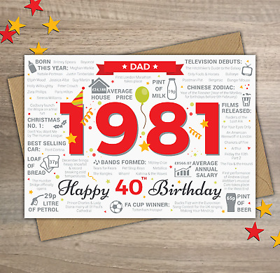 1980 DAD Happy 40th Birthday Year of Birth Facts / Memories Greetings Card Red