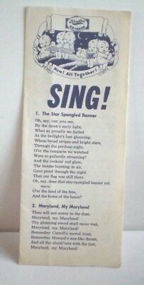Vintage Hendlers Ice Cream Advertising Songbook Now All Together SING 30 Songs