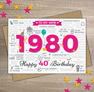 1979 WIFE Happy 40th Birthday Greetings Card Year Of Birth Facts Memories Pink