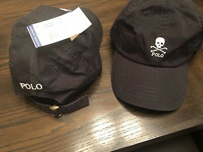 New Ralph Lauren Polo Chino Skull And Crossbones Baseball Hat cap Black 1  Size ee9f03e23564