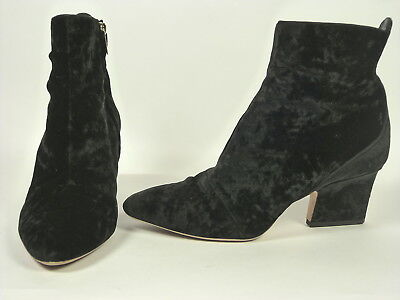 24bf10f067f4 Jimmy Choo black textured velvet ankle boots with logo zip closure sz  39.5 9.5
