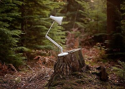 vintage anglepoise style lamp desk light no markings good worn used look white