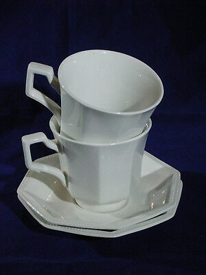 Johnson Brothers Heritage White lot of 2 cup saucer sets ironstone England