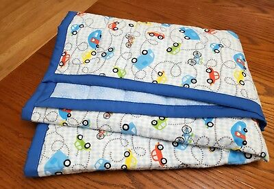 "HANDMADE, ""TRAFIC"", 35x43in FLANNEL BOYS BABY/TODDLER  QUILTED BLANKET-GIFT IDEA"