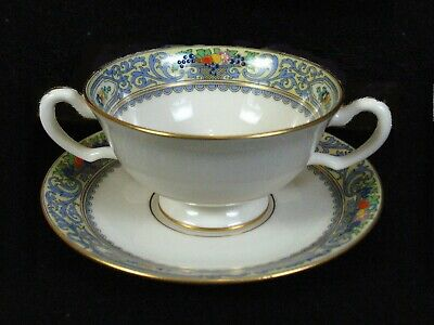Rare Lenox Autumn  Cream Soup / Bouillon Cup and Saucer Black Stamp Hallmark